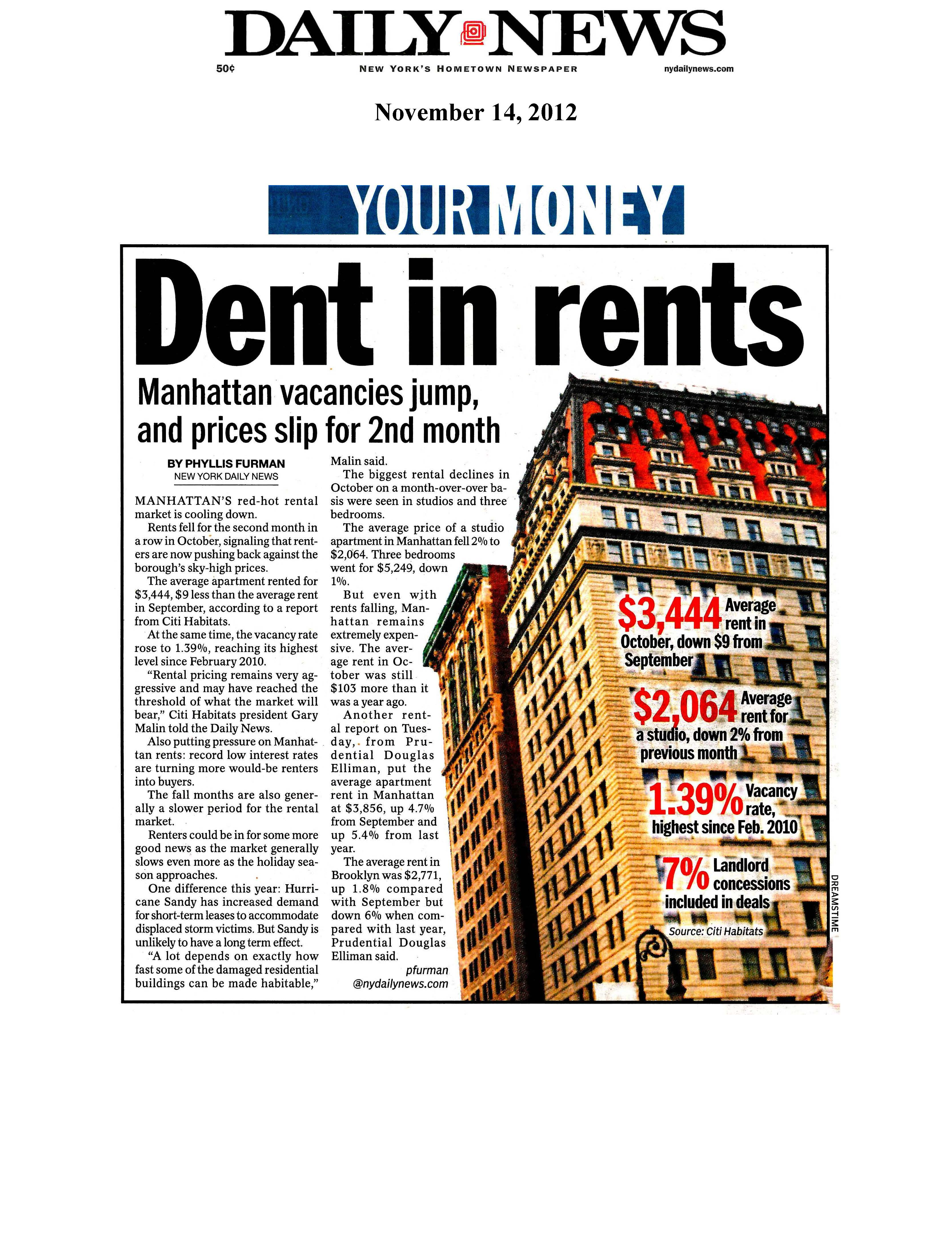 11_14_12 Daily News - Dent in rents